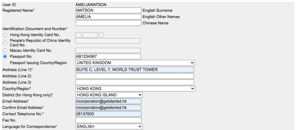 Fill in contact details at the HK Company Registry