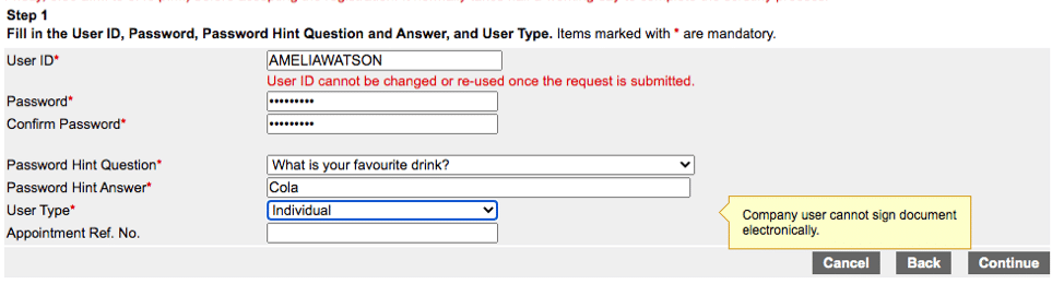 Create login information at the HK Company Registry