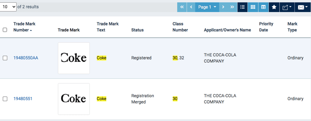 Result of the coke trademark search